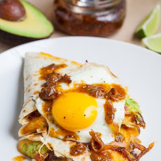Bacon Jam and Guacamole Quesadilla with Fried Egg with Bacon Jam Vinaigrette Drizzle.