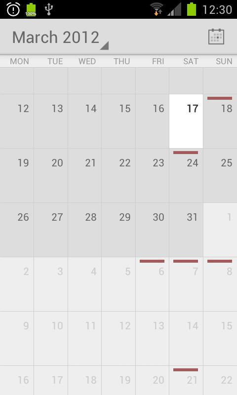 Calendar from Android 4.1 - screenshot