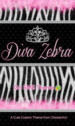Diva Zebra Go SMS Theme