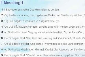 Screenshot of Biblen på Dansk