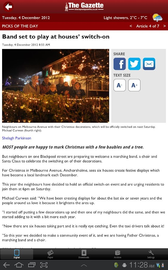 Blackpool Gazette Newspaper- screenshot