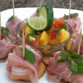Tropical Mango Salsa with Proscuitto Wrapped Shrimp.