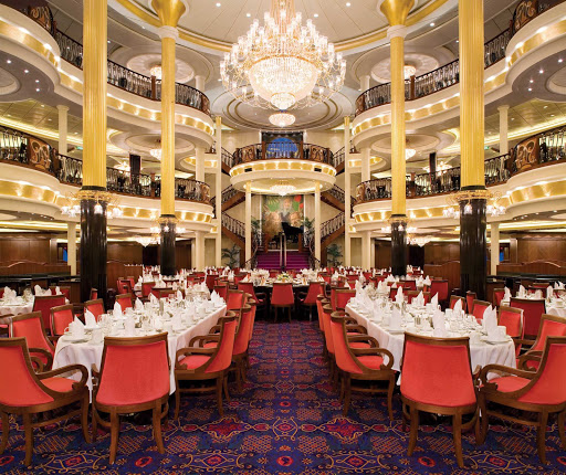 Freedom-of-the-Seas-main-dining-room - Freedom of the Seas' main dining room serves complimentary multi-course breakfasts, lunches and dinners.