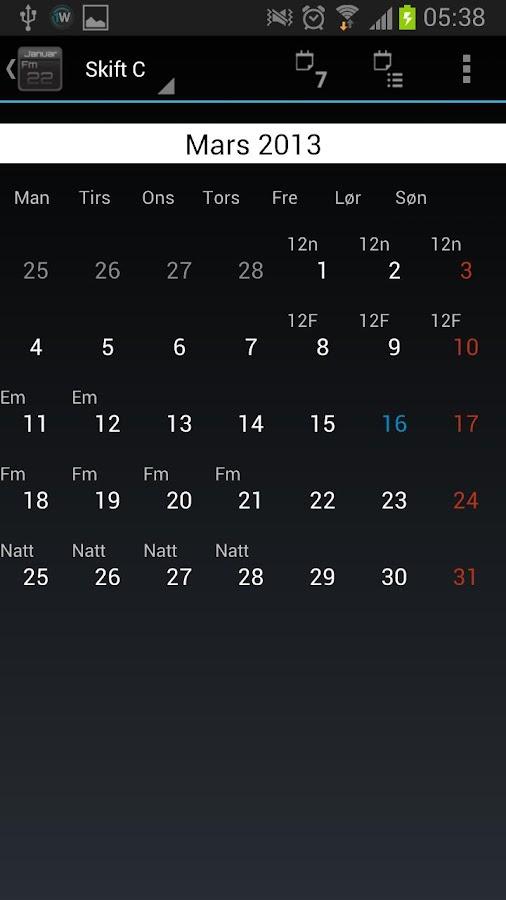 SkiftKalender Pro 2 - screenshot