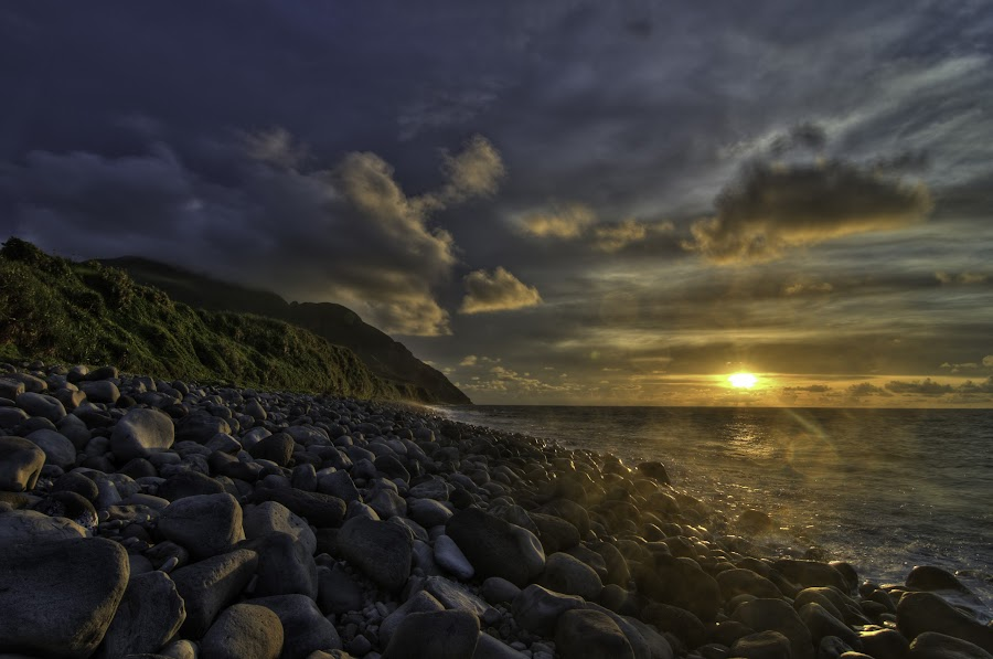 Valugan Sunrise by Victor Roman - Landscapes Sunsets & Sunrises ( hdr, nikon d300, sunrise, batanes, beach, , blue, orange. color )