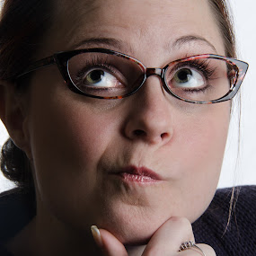 Shallow in Thought by Christopher Mazzoli - People Portraits of Women ( glasses, female, thinking, woman, question, portrait,  )