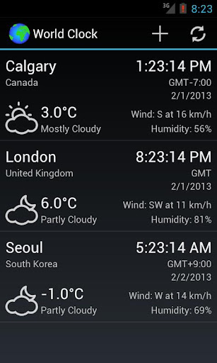 World Clock Weather Widget