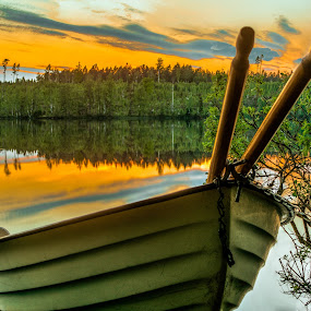 V by Colin Harley - Transportation Boats ( boat. water, sunset, forest, lake )
