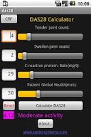 Screenshot of DAS28 - Rheumatoid Arthritis