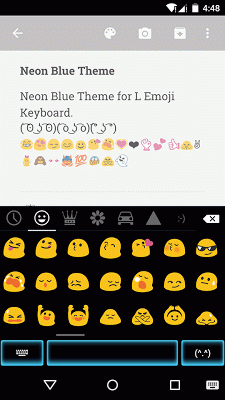Neon Blue Emoji Keyboard Theme - screenshot