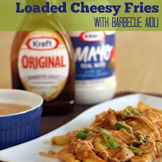 Loaded Barbecue Chicken Cheesy Fries with Creamy Barbecue Aioli