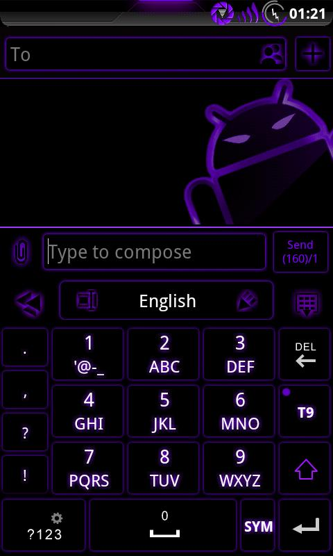 GOKeyboard Theme Glow Purple - screenshot