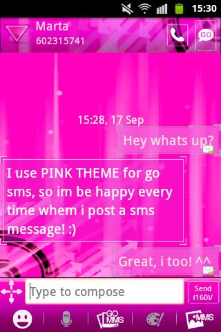 Pink Theme GO SMS- screenshot