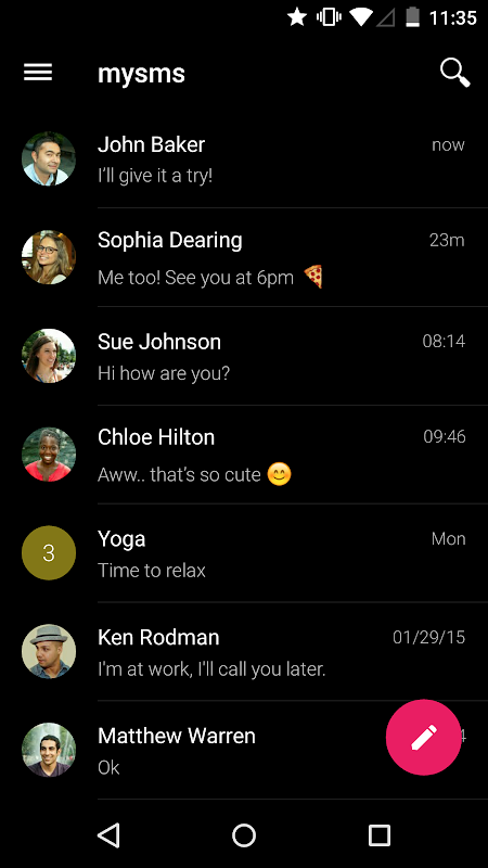 mysms SMS Text Messaging Sync screenshots