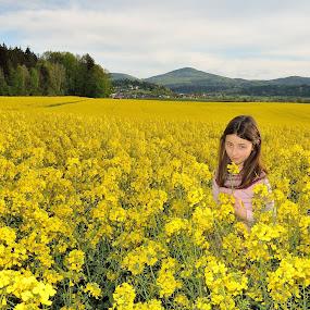 A girl in the yellow field by Silva Predalič - Babies & Children Children Candids ( field, rapeseed, girl, yellow, spring, light,  )