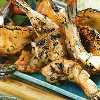 Grilled Shrimp with Roasted Garlic-Herb Sauce.