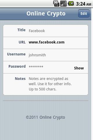 Online Crypto Password Manager- screenshot