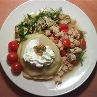 Lobster Ravioli in Tomato Cream Sauce with Shrimp.