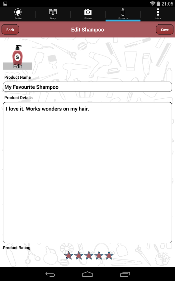 Hair Journal- screenshot