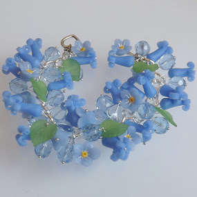 Bluebell Forget Me Not Bracelet by Janet Skoyles - Artistic Objects Jewelry (  )