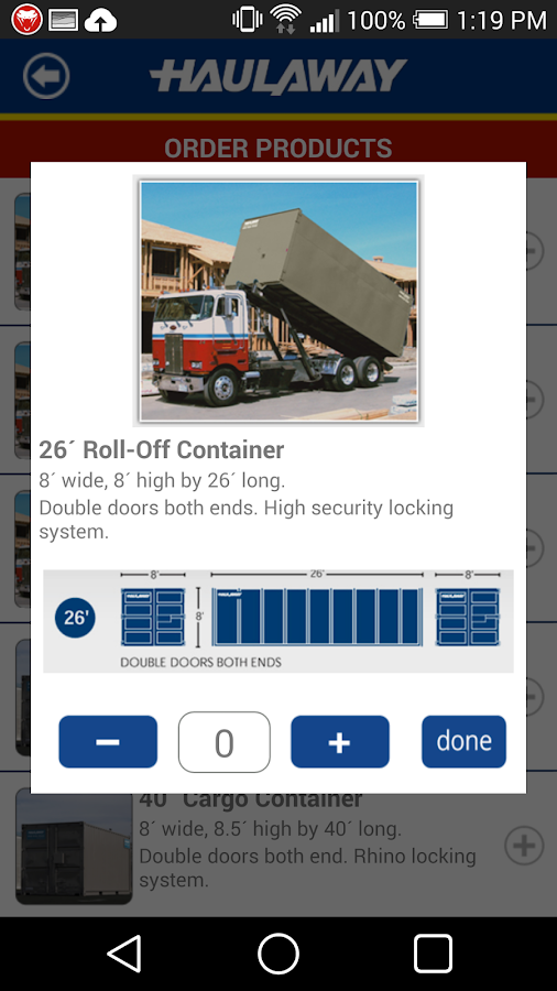 Haulaway Storage Container App- screenshot