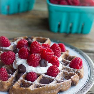 Chocolate Waffles With Fresh Raspberries