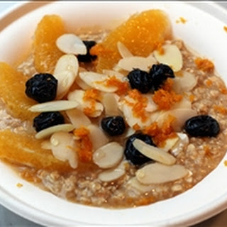 Maple Brown Sugar Oatmeal with Orange, Cranberries, Almonds
