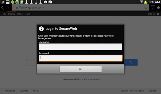 SecureWeb Browser Screenshot