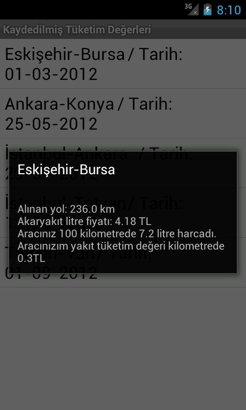 Oto Akaryakıt Tüketimi- screenshot