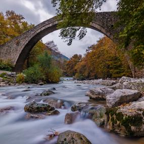 Stone Bridge in Portaikos river by George Papapostolou - Landscapes Waterscapes ( portaikos river, george papapostolou, pyli, autumn, thessaly, greece, trikala, stone bridge, travel, nikon, bridge,  )