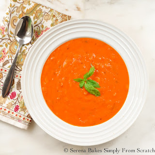 Creamy Roasted Tomato Basil Soup With Orzo.