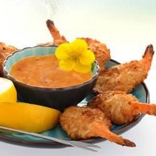 Baked Coconut Shrimp with Spicy Dipping Sauce.