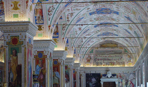 Vatican-Museums-Sistine-Hall-ceiling - All roads — and Mediterranean cruises — lead to Rome and the Vatican Museums, or at least they should. The beautiful Sistine Hall of the Vatican Library, one of the oldest libraries in the world, shows why.