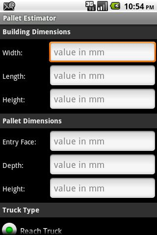 Redirack Pallet Estimator - screenshot