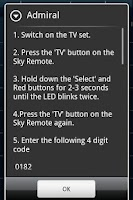 Screenshot of Sky Remote Codes