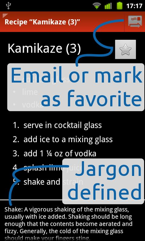 Top Shelf mixed-drinks recipes- screenshot