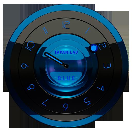 黑藍色時鐘小部件類比 個人化 App LOGO-APP試玩