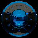 Black Blue clock widget analog