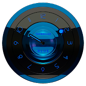 Black Blue clock widget analog