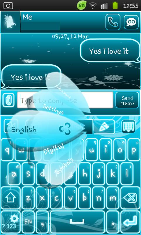 Go Keyboard Fairy Blue - screenshot