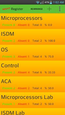 Attendance Register (students) - screenshot