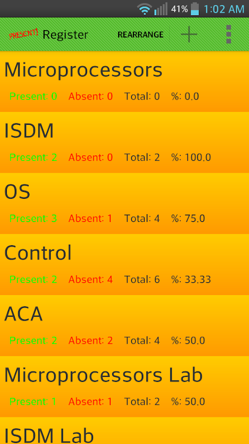 Attendance Register (students)- screenshot