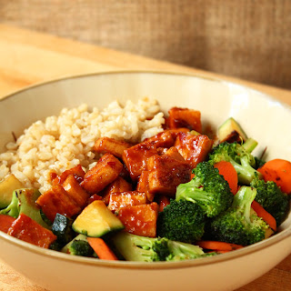 Teriyaki Peanut Tofu with Stir-Fried Veggies & Brown Rice