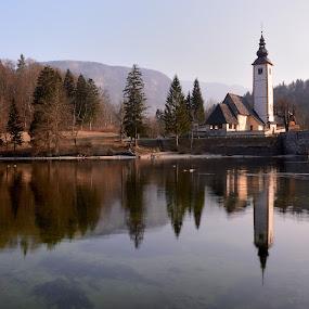 Bohinj Lake and Church of Sv. Janez Krstnik by Silva Predalič - Landscapes Waterscapes ( sv.janez, church, reflections, lake, morning, spring, bohinj )