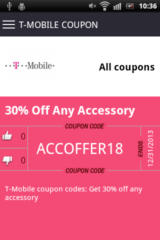 Electronic coupons app