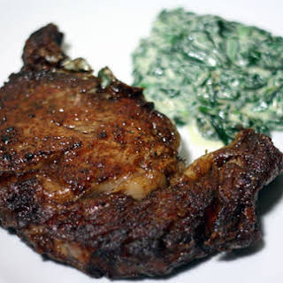 Pan-Seared Ribeye Steak with Quick Creamed Spinach.