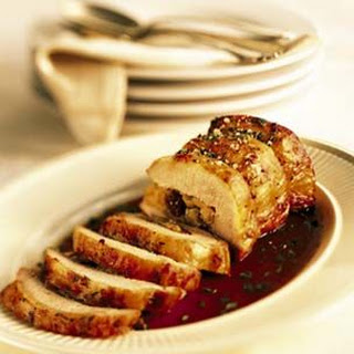 Apple-Stuffed Pork Loin with Cider Sauce