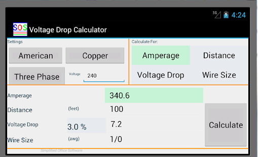 Voltage drop calculator apps on google play screenshot image greentooth