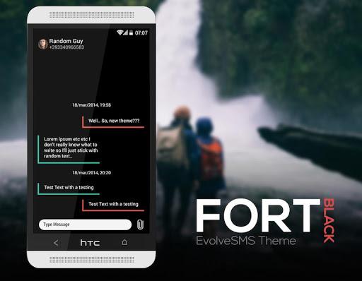 Fort Black Theme EvolveSMS
