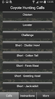 Screenshot of Coyote Hunting Calls